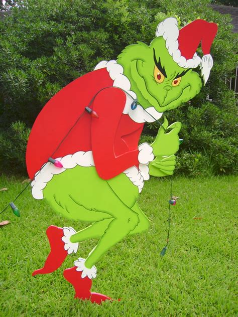 grinch outdoor decorations grinch stealing lights patterns myideasbedroom