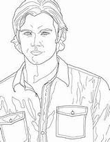 Supernatural Coloring Pages Sam Winchester Drawing Dean Outline Castiel Etsy Smith Printable Drawings Adult Line Similar Items Books Fan Sheets sketch template