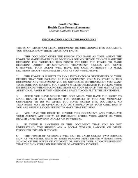 health care power  attorney south carolina