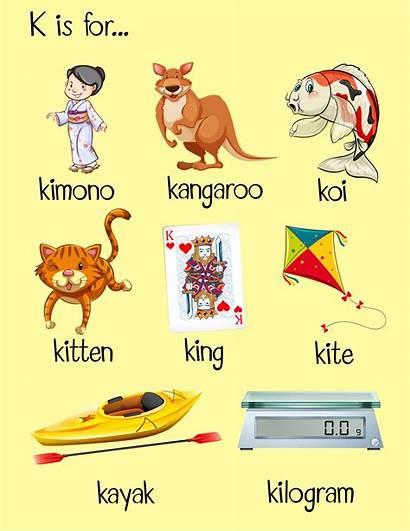Words Letter Start Many Begin Vector Illustration