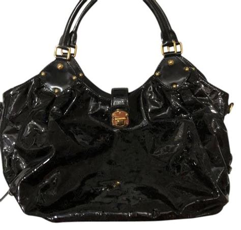 louis vuitton mahina lv monogram patent black leather hobo