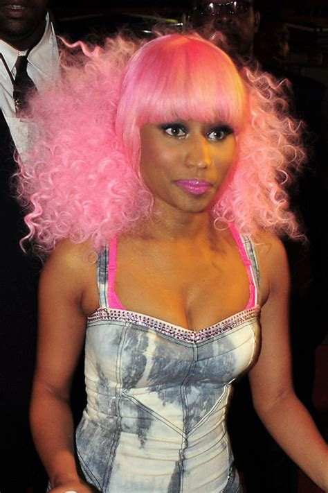 nicki minaj curly pink afro straight bangs wig hairstyle