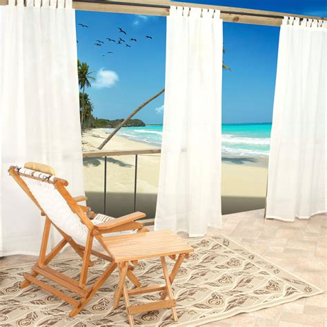 sheer white weathersmart outdoor curtains with tabs