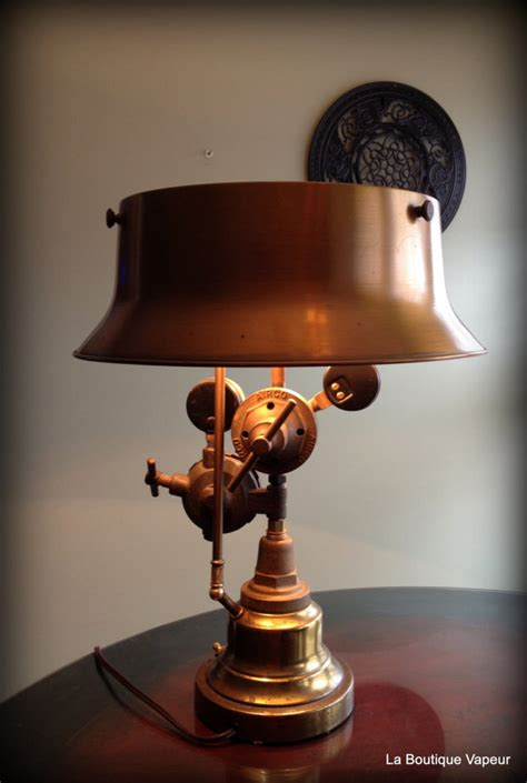 steampunk table lamp   vintage torch id lights