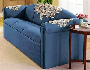 Blue sofa arm covers home design the upside to sofa for Sofa arm covers blue