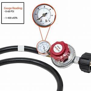 4 Ft High Pressure Regulator Hose Psi Gauge Propane