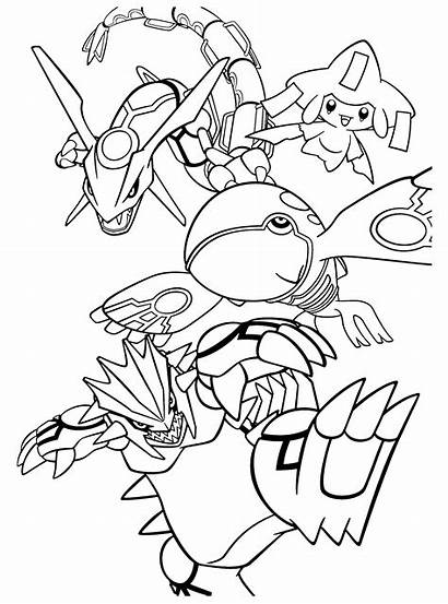 Pokemon Coloring Kyogre Pages Groudon Rayquaza Legendary