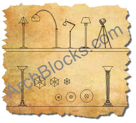AutoCAD Lighting Blocks Library   CAD Lamp Symbol