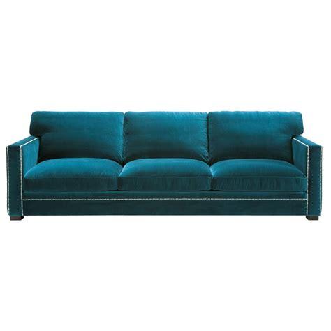 canapé 4 5 places en velours bleu dandy maisons du monde