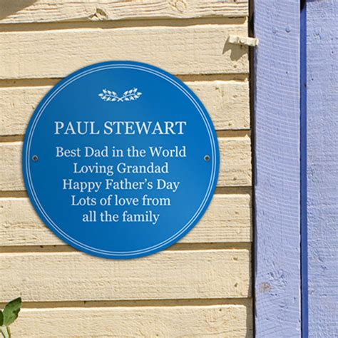 personalised fathers day heritage blue plaque
