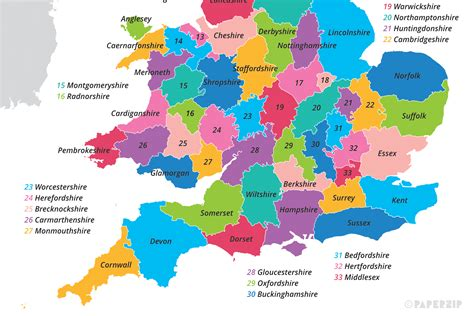 uk map  counties paperzip
