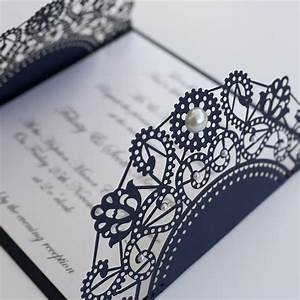 vintage style lasercut black red lace doily invitation With navy lace wedding invitations uk