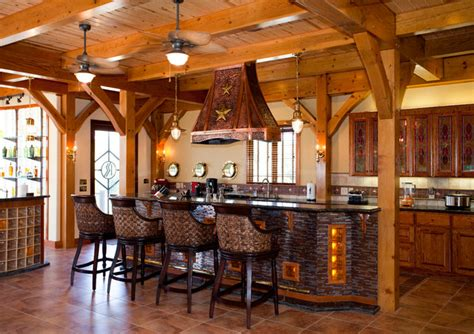 nautical themed timber frame home rustic kitchen