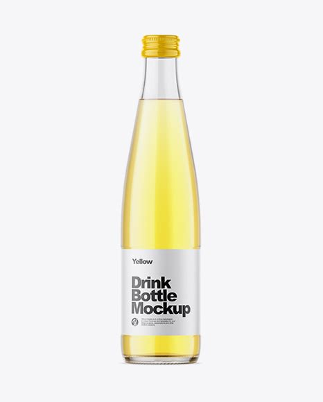 Simple edit with smart layers. Clear Glass Yellow Drink Bottle Mockup in Bottle Mockups ...