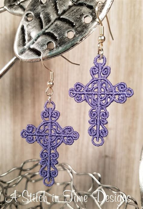 fsl cross earrings  charms  stitch  time embroidery
