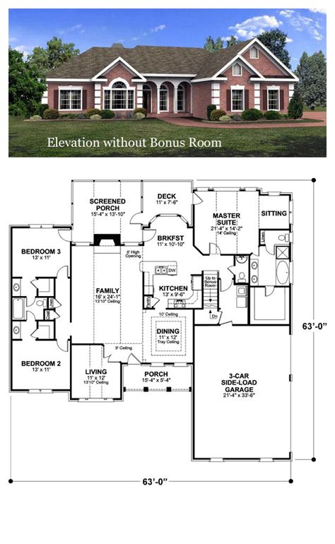 ranch house plan  total living area  sq ft  bedrooms  bathrooms