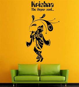 buy hoopoe decor lord krishna the super soul vinyl wall With best brand of paint for kitchen cabinets with krishna wall art canvas