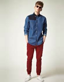 Red Denim Shirt and Pants