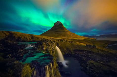 Kirkjufell Iceland Waterfall Aurora Borealis Hd Wallpaper