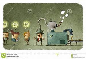 Machine Stealing Idea From Man's Head Stock Illustration ...