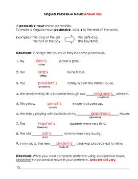 nouns singular possessive nouns worksheet and key by bigredapple