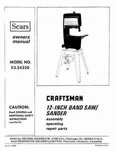 1987 Craftsman 113 24350 12 U0026quot  Band Saw  Sander Owners Manual