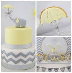 Yellow And Grey Elephant Baby Shower Decorations Picture