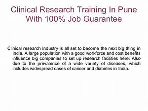 clinical research coursestraining in pune with 100 job With how to get a job in clinical research