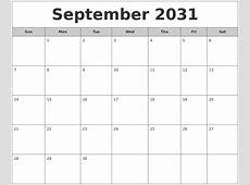 July 2031 Calanders