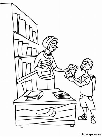 Coloring Librarian Library Pages Books Drawing Printable