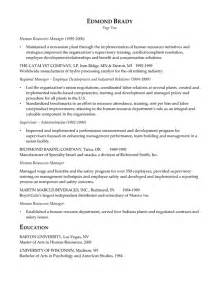 human resource resume summary hr executive resume exle