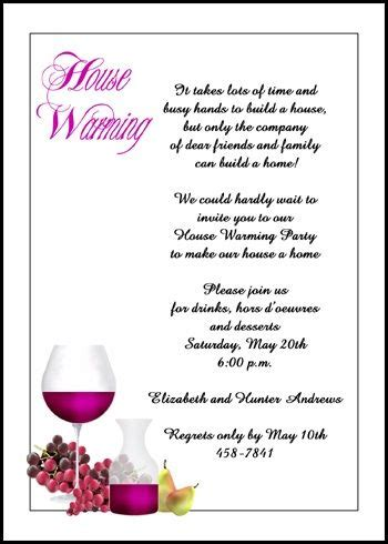 wine  grapes housewarming invitation cards
