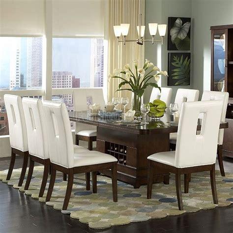 elmhurst pedestal dining room set  white  brown
