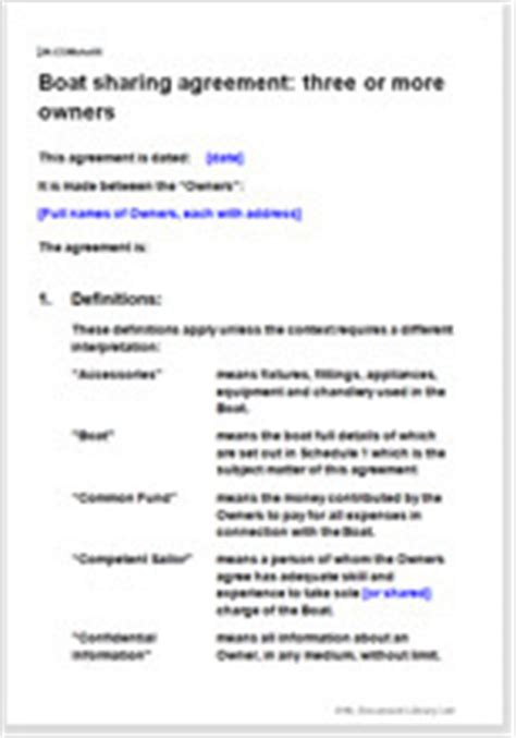 Boat Co Ownership Agreement Template by Boat Agreement Fractional Joint Ownership