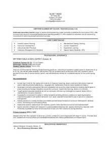 free elementary education resume exles sle elementary resume