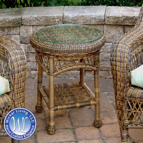 wicker patio end tables wicker end table outdoor resin side table