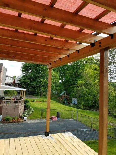 build  pergola   existing deck   stay