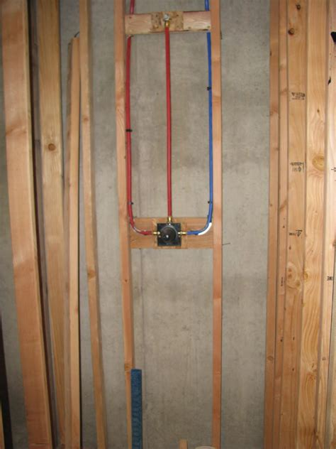Shower Plumbing by Basement Project Finished With Framing Electrical