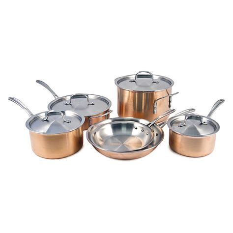 calphalon tri ply copper  piece cookware set cookware sets  hayneedle