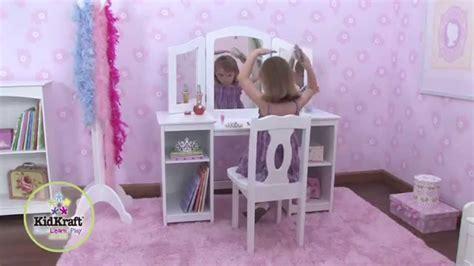 chaise bureau princesse coiffeuse en bois pour enfant avec chaise et miroir