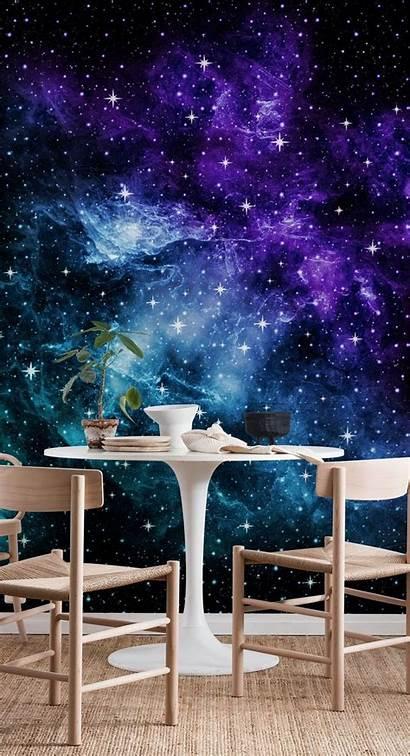 Galaxy Teal Purple Nebula Mural Space Murals