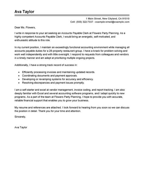 Exle Of A Cover Letter by Accounts Payable Specialist Cover Letter Sle