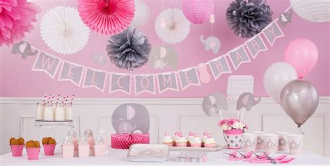 Elephant Baby Shower Supplies - pink baby elephant baby shower decorations city