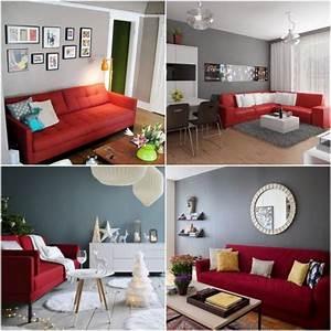quelle peinture quelle couleur autour d39un canape rouge With couleur tendance deco salon 5 cuisine photo 12 cuisine elegante avec touche de gris