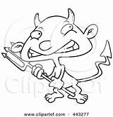 Devil Boy Cartoon Outline Coloring Pitchfork Asu Sparky Clipart Template Pages Sketch Clip Royalty Carrying Sack Colouring sketch template