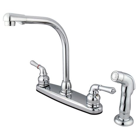 high arch kitchen faucet kingston brass chrome 8 quot centerset high arch kitchen faucet with spray faucetlist com
