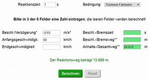 Bremsweg Berechnen : bremsweg und anhalteweg berechnen rechner formeln strommer johannes ~ Themetempest.com Abrechnung
