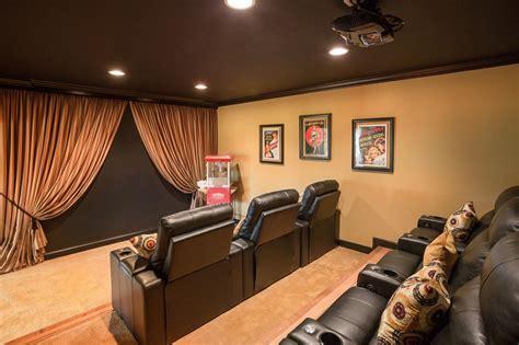 elegant home theater  chocolate brown ceiling hgtv