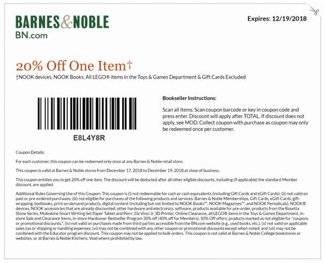 Barnes Ans Noble Coupon by Barnes And Noble Printable Coupons December 2018