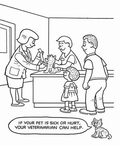 Coloring Veterinarian Hospital Pet Veterinary Sheets Bulk